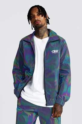 boohoo MAN Rainbow Reflective Track Jacket