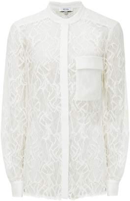 4a74e55e at Reiss · Reiss Betsey - Semi Sheer Lace Shirt in Off White