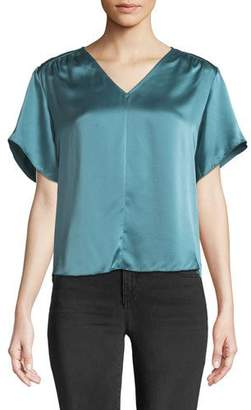 Rebecca Taylor Short-Sleeve Silk Charmeuse V-Neck Top