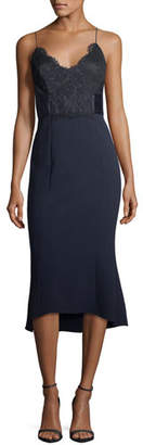 Camilla And Marc Ricci Fit-and-Flare Sleeveless Cocktail Dress w/ Lace