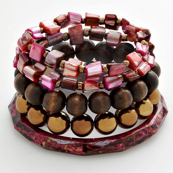 Mudd® bronze-tone beaded shell-composite flex and bangle bracelet set