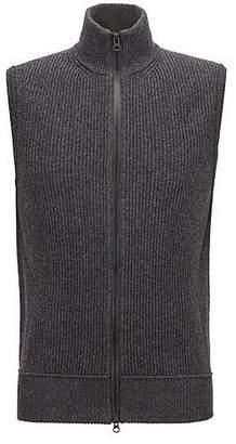 HUGO BOSS Cotton-blend sleeveless sweater with zip-through front