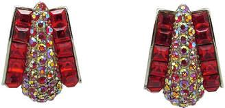 One Kings Lane Vintage Festive Fiery Red Rhinestone Earrings - Thanks for the Memories