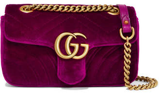 Gucci Gg Marmont Mini Quilted Velvet Shoulder Bag - Magenta