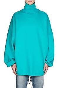 Balenciaga Men's Cotton-Blend Fleece Oversized Turtleneck Sweatshirt-Lt. Blue