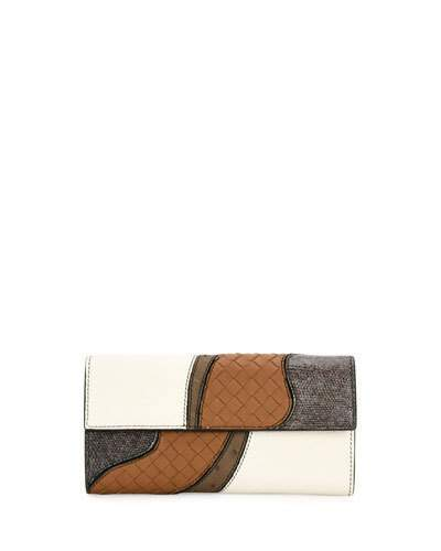 Bottega Veneta Bottega Veneta Patchwork Flap Continental Wallet, White/Multi