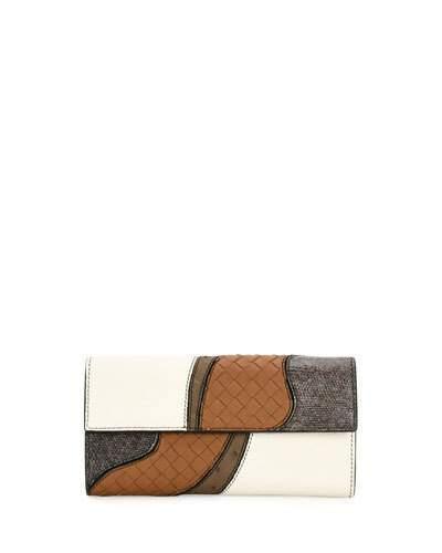 Bottega VenetaBottega Veneta Patchwork Flap Continental Wallet, White/Multi