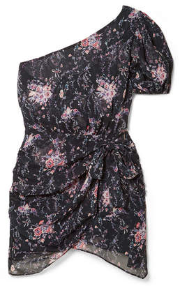 LoveShackFancy Peyton One-shoulder Floral-print Silk-georgette Mini Dress - Navy