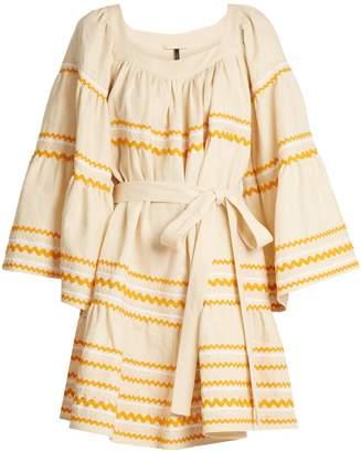 Lisa Marie Fernandez Ric-rac trimmed ruffled linen dress