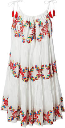 Carolina K. Multi Embroidered White Dress