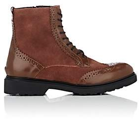 Barneys New York WOMEN'S SUEDE & LEATHER WINGTIP ANKLE BOOTS