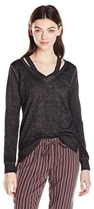 Miss Chievous Junior's Long Sleeve Burnwash Double V Neck with DTM Rib