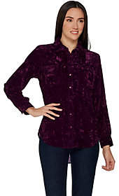 Denim & Co. Crushed Velvet Long Sleeve ButtonFront Shirt
