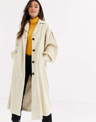 Asos Design DESIGN jumbo cord trench coat in cream