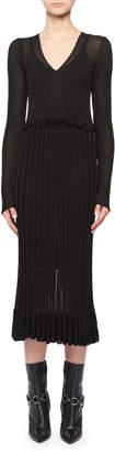 Altuzarra Lurex Long-Sleeve Dress w/ Flounce Hem