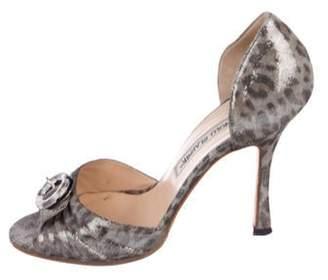 Manolo Blahnik Metallic Suede Peep-Toe d'Orsay Sandals Grey Metallic Suede Peep-Toe d'Orsay Sandals
