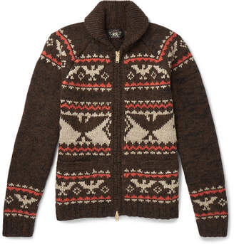 RRL Intarsia Wool, Cotton, Alpaca, Silk And Linen-Blend Zip-Up Cardigan