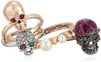 Betsey Johnson Women's -Tone Skull Stackable Ring Set