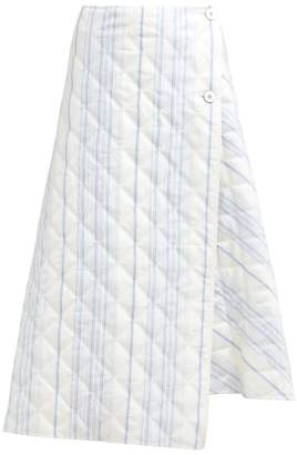 Jil Sander Striped Quilted Twill Wrap Skirt - Womens - Blue Stripe