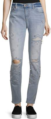 Driftwood Women's Beau Boyfriend Embellished and Distressed Jeans