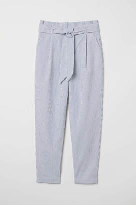 H&M Striped Paper-bag Pants - White/blue striped - Women