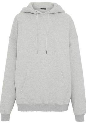 R 13 Oversized Distressed Cotton-Fleece Hooded Sweatshirt