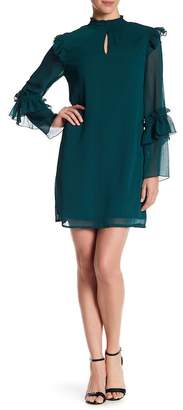 Bobeau Ruffle Trim Crinkle Dress