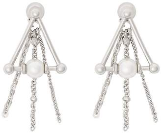 Burberry Faux Pearl and Triangle Palladium-plated Drop Earrings