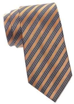 Ermenegildo Zegna Men's Reptile Stripe Silk Tie - Orange