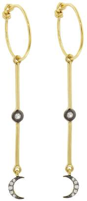 Ileana Makri EYE M by Dangling Moon Hoop Earrings - Yellow Gold
