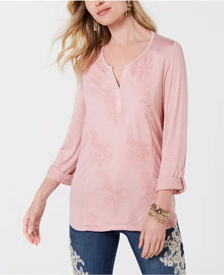 Style&Co. Style & Co Embroidered Contrast Top