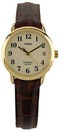 Timex Ladies Easy Reader with Brown Leather Strap & White Dia $39 thestylecure.com