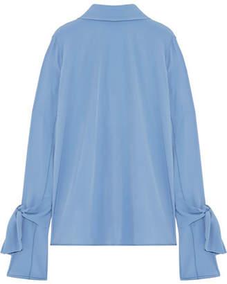 Marni - Tie-back Crepe Blouse - Light blue