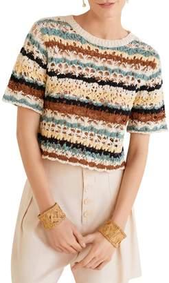 MANGO Short Sleeve Crochet Top