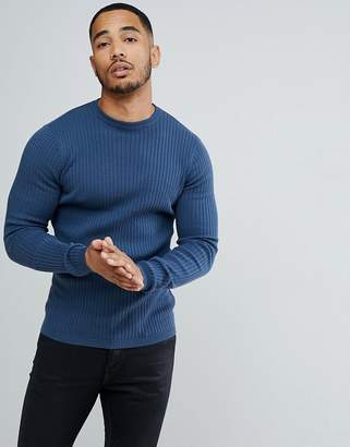 New Look Ribbed Muscle Fit Jumper In Blue