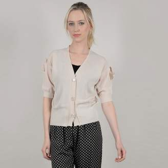 Molly Bracken Buttoned V-Neck Cardigan in Fine Gauge Knit