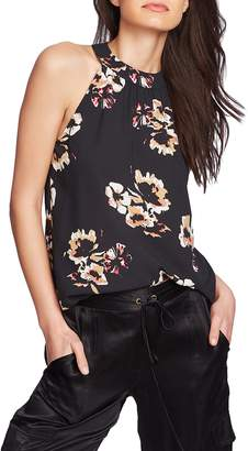 1 STATE 1.STATE Floral Print High Halter Neck Top