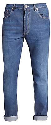Brunello Cucinelli Men's Lightweight Skinny-Leg Jeans