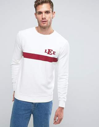 Lee Logo Striped Sweatshirt Reverse Loop Back