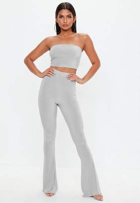 Missguided Grey Slinky Flare Trousers