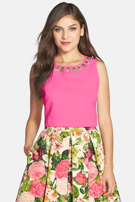 Eliza J Embellished Faille Top $118 thestylecure.com