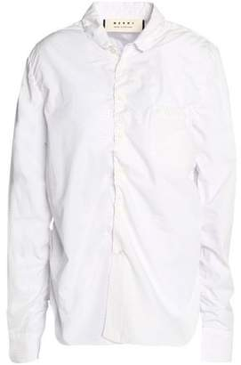 Marni Ruched Striped Cotton-Poplin Shirt