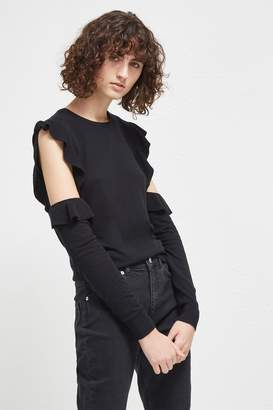 French Connection Louise Frill Cold Shoulder Jumper