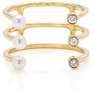 Ef Collection 14K Yellow Gold Diamond & Pearl End Open Layered Ring - Size 6