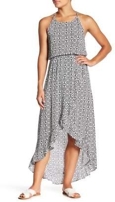 Love...Ady Printed Hi-Lo Ruffle Hem Maxi Dress