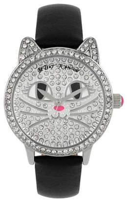 Betsey Johnson Analog Pave Cat Watch