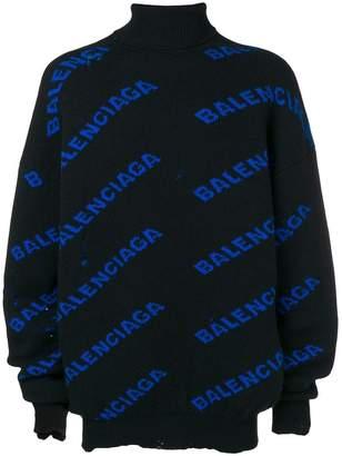 Balenciaga laddered logo turtleneck sweater