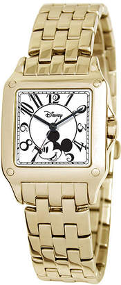 Disney Perfect Square Mickey Mouse Womens Gold-Tone Watch