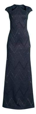 St. John Mod Metallic Knit Cap Sleeve Gown