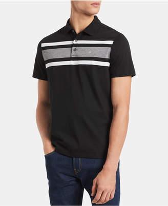 Calvin Klein Men Big & Tall Regular-Fit Colorblocked Liquid Touch Stripe Polo Shirt